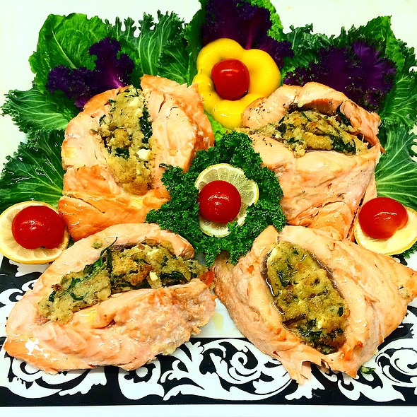 Spinach And Feta Cheese Stuffed Atlantic Salmon @ Annie's Vintage Gourmet Market