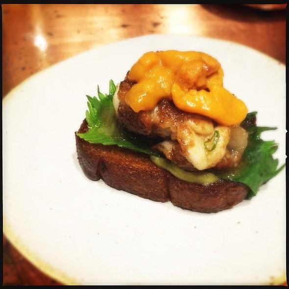 Deep Fried Potato Bread With Cod Sperm And Uni @ Mecha Uma