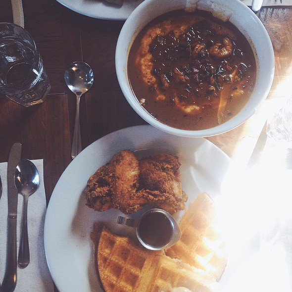 Buttermilk Fried Chicken & Cornmeal Waffle With Brown Sugar Butter & Apple Cider Syrup @ Brown Sugar Kitchen