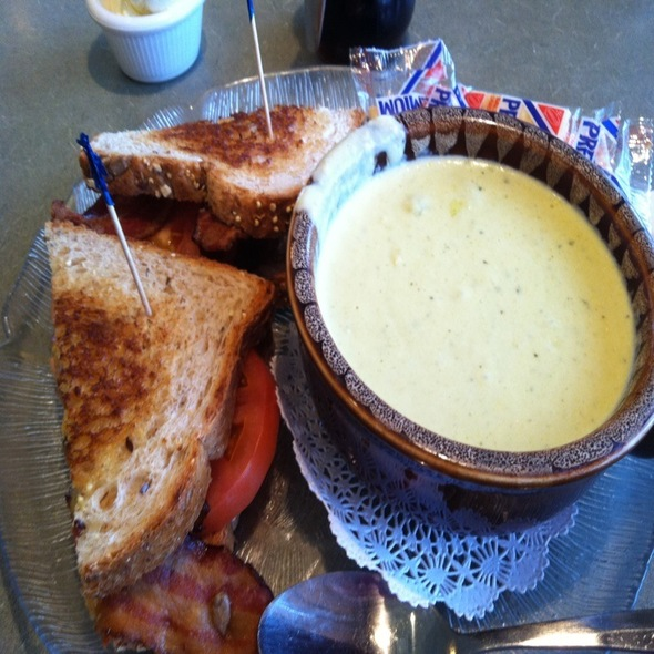 Grilled Cheese And Cream Of Corn Soup