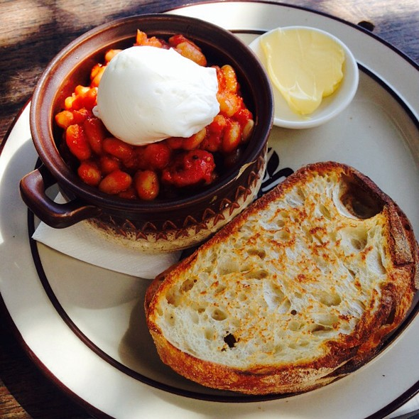 Chorizo And Baked Beans With Poached Eggs And Sourdough @ The Bunker