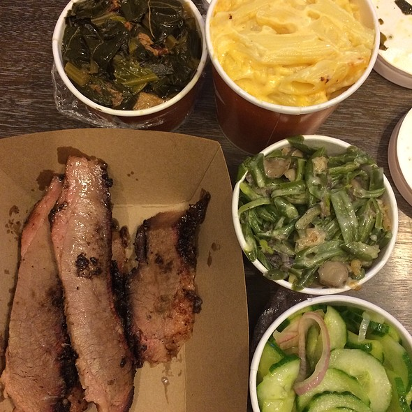 Lean Brisket, Collard Greens, Mac N Cheese, Green Beans, Cucumber Salad