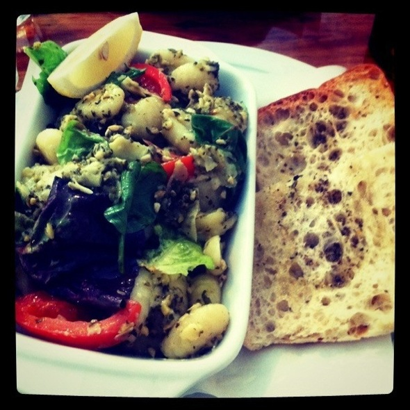 Gnocchi With Mixed Leaves, Pesto & Herb Bread @ Clipper Cafe