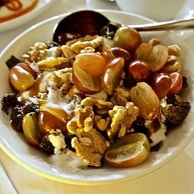Brussels sprouts, grapes, fig jam, walnuts, mint yogurt