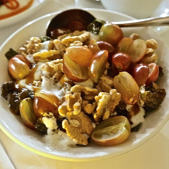 Brussels sprouts, grapes, fig jam, walnuts, mint yogurt - ilili