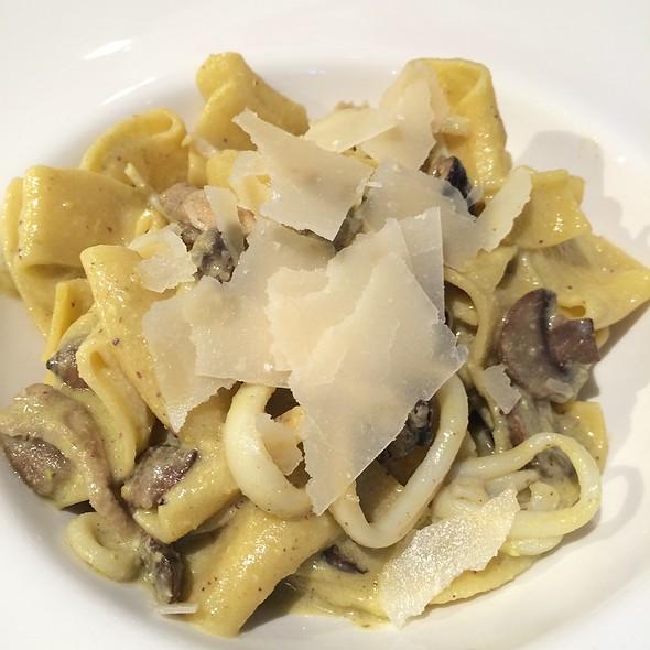Pesto Di Pistacchio - Maltagliati Pasta W/ Calamari, Melody Of Mushrooms & Pistachio Pesto @ Pasticceria Papa