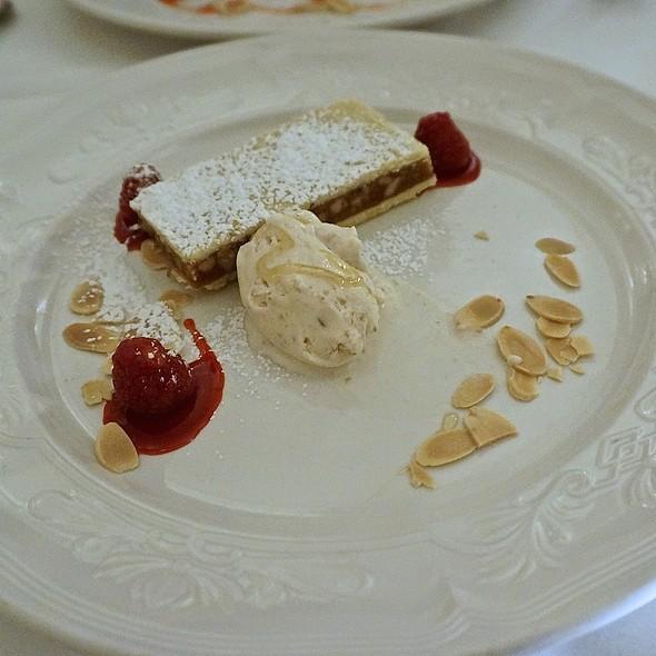 Warm caramelized walnut and honey tart and fig-mascarpone gelato - Scalini Fedeli, New York, NY
