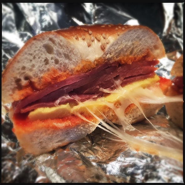 Pork Roll, Egg and Cheese Bagel Sandwich @ Bagelsmith Food Stores & Deli