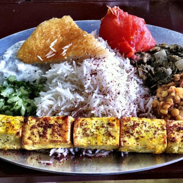 Sag Style Tofu Kabob Plate @ Sheik Burritos N Kabobs