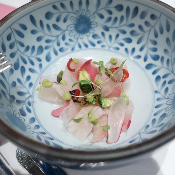 """Kaisen"" Sashimi Salad with Japanese Cucumber, Hijiki, Tobiko Caviar and Yuzu Soy Vinaigrette - Ame, San Francisco, CA"