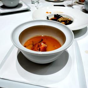 """Chawan-Mushi"" Japanese Savory Custard with Lobster, Sea Urchin, Shiitake and Mitsuba Sauce"