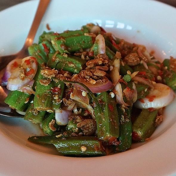 Kerabu Lady's Finger – okra blanched and tossed in spicy mix of chili, onion, lime leaf, ginger flower, dried shrimp and lime juice.