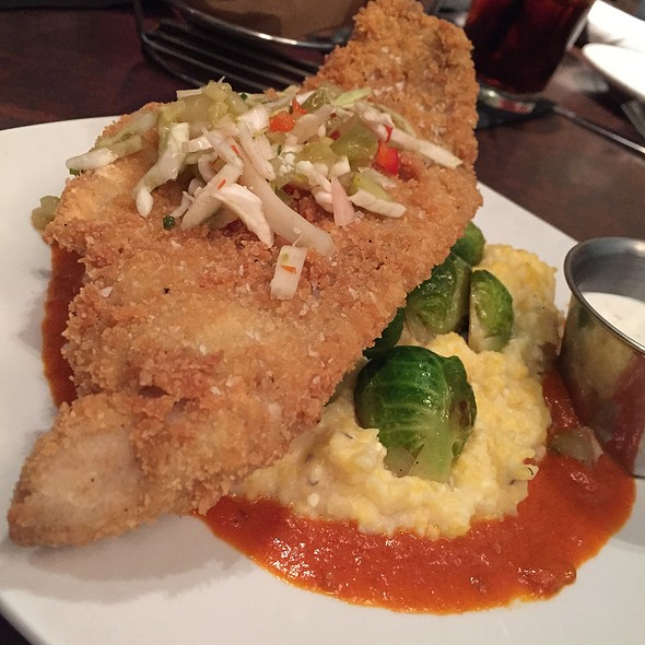 Nc Catfish With Grits And Brussels Sprouts - New South Kitchen & Bar, Charlotte, NC
