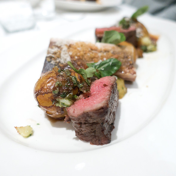 Grilled Brandt Family Ranch NY Strip Steak with Crispy Yukon Gold Potatoes,  Horseradish Sour Cream, Roasted Bone Marrow and Red Wine Sauce  - Ame, San Francisco, CA