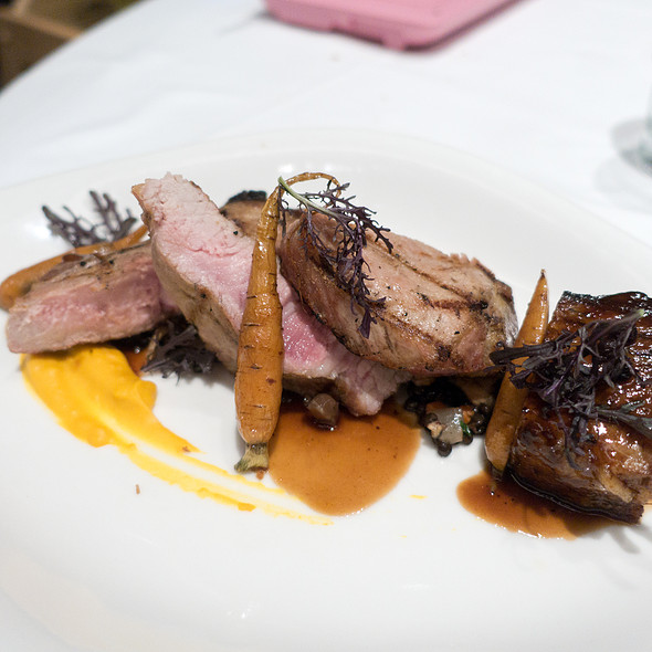 """Grilled Berkshire Pork Chop with Soy Braised Pork Belly,  Garnet Yam Purée, Pickled Chanterelles and Huckleberry Sauce """"Poivrade""""  - Ame, San Francisco, CA"""