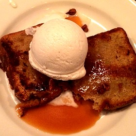 Grilled Peach Pound Cake With Ice Cream , Candied Pecans, Caramel Sauce