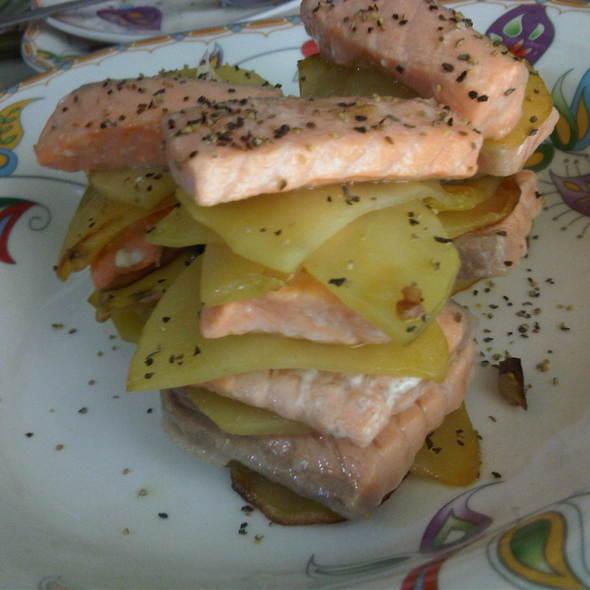 salmon with sliced potato @ Bong's kitchen