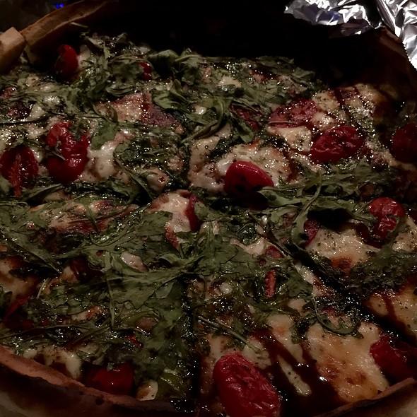 Pan Pizza With Sausage, Olive Oil, Crushed Garlic, Cherry Tomatoes, Fresh Arugula, Balsamic Drizzle @ Pranzi
