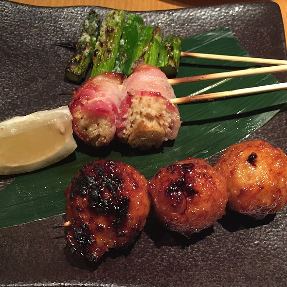Chicken Meatballs, Asparagus, And Bacon-Wrapped Mushrooms @ Iroha Japanese Restaurant