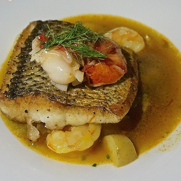 Pan seared Lake Superior whitefish, poached Maine lobster, Gulf shrimp, fennel, fingerling potatoes, shellfish broth - MK The Restaurant, Chicago, IL