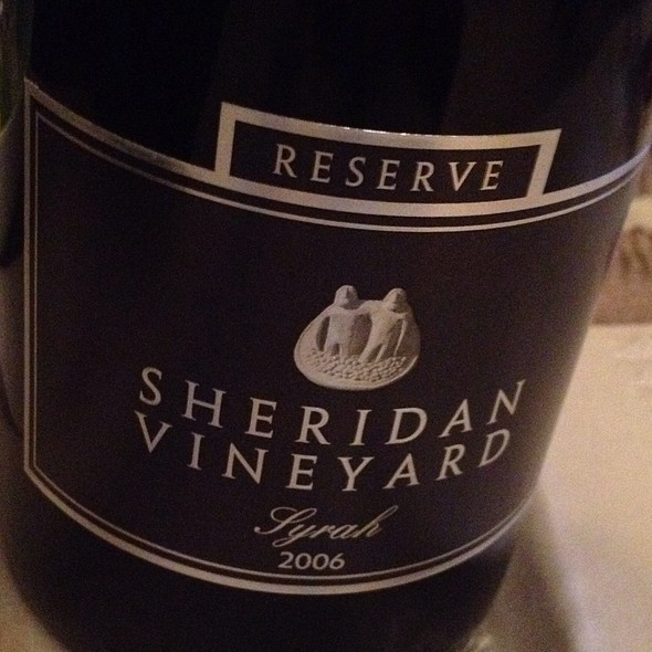 Sheridan Reserve Syrah 2006 @ Chez Eric