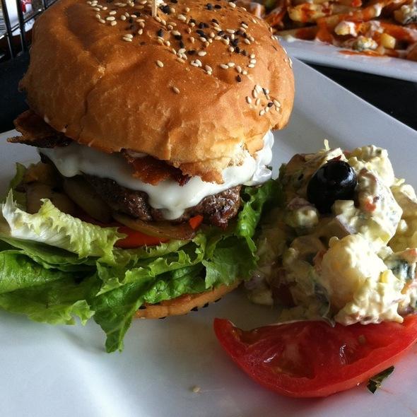Kobe Beef Bacon Cheese Burger @ Press Box Sports Lounge