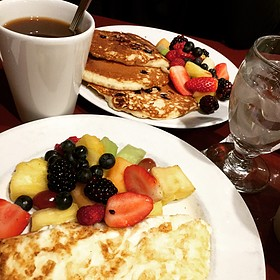 Blueberry Pancakes, Egg White Omelette, Whole Wheat Toast, Sides Of Fruit & Coffee