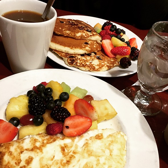 Blueberry Pancakes, Egg White Omelette, Whole Wheat Toast, Sides Of Fruit & Coffee - Cupping Room Cafe, New York, NY