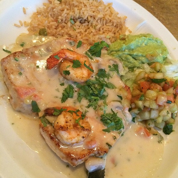 Chicken & Shrimp With Chipotle Cream Sauce & Mexican Rice @ Lopez Mexican Restaurant