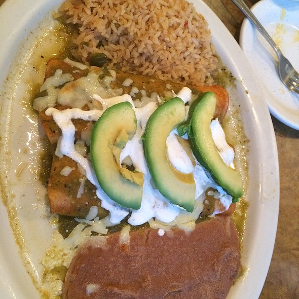 Chicken Enchiladas Verdes With Refried Beans & Mexican Rice @ Lopez Mexican Restaurant