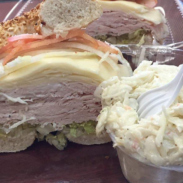 Turkey And Provalone On A Garlic Bagel @ Strathmore Bagels