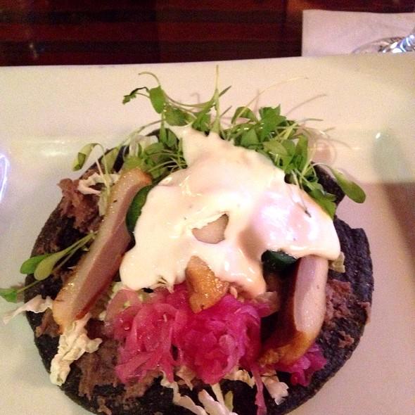Duck Tostada- Blue Corn Tortilla, Duck In Black Mole, Cotija Cheese, Tomatillo Salsa, Roasted Corn And Nopales Salsa - Buttonwood Grill, Lahaska, PA