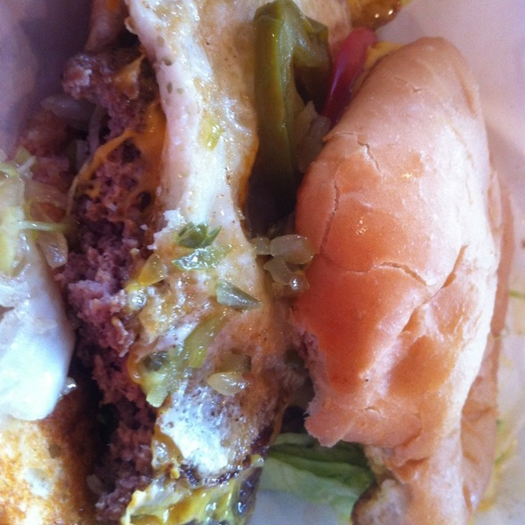 Cheeseburger With Fried Egg And Pickled Jalapenos @ Maple and Motor- Burgers and Beer