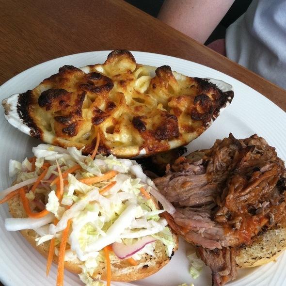 Bbq Brisket Sandwich With Mac And Cheese - Cru Cafe, Charleston, SC
