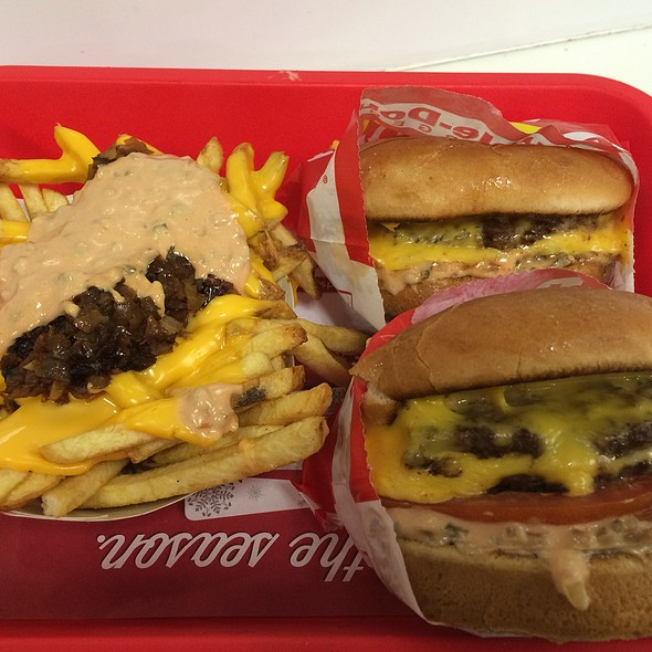 Two Double-Double Cheeseburgers W/Animal Style Fries @ In-n-Out