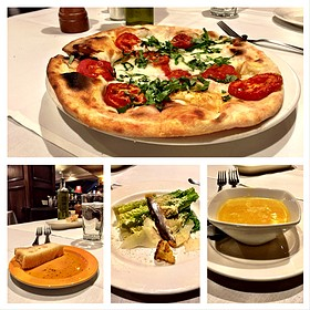 Lunch: Focaccia + Oil, Butternut Squash Soup, White Anchovy Caesar Salad, Margherita Pizza.