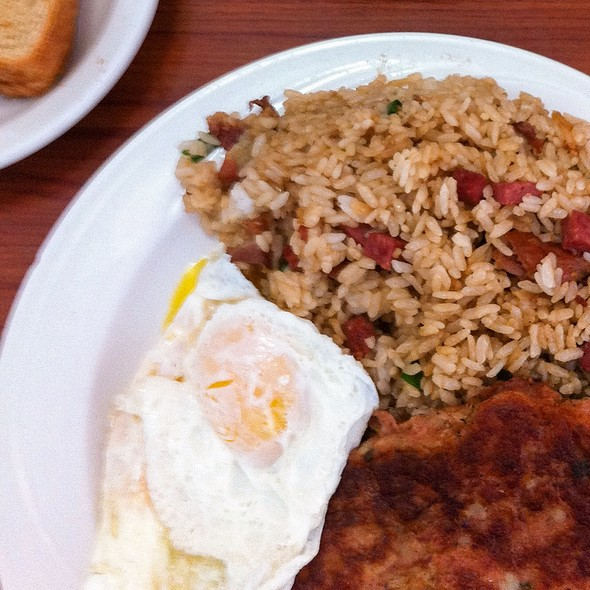 Two Fresh Island Eggs, Corned Beef Hash Patty, Fried Rice And Toast