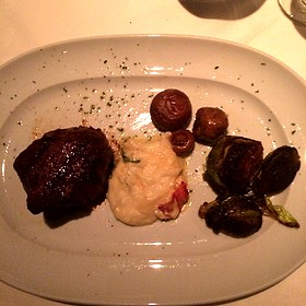 8 Oz Filet, Lobster Mashed Potatoes, Roasted Brussels Sprouts, Sautéed Mushrooms