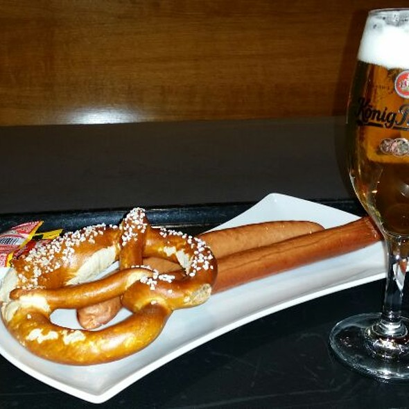 Bratwurst With Pretzels And Small Pilsner Beer @ Dallmayr Terminal 2