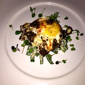 Truffled Fried Egg With Green Beans, Olive And Truffle Salad