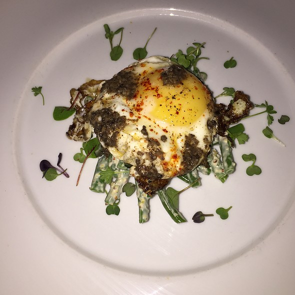 Truffled Fried Egg With Green Beans, Olive And Truffle Salad - Divino Wine & Cheese Bistro, Calgary, AB