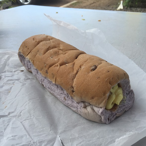 Puka Dog: Taro Bacon Bun Ad Polish Sausage With Mango Relish And Honey Mustard @ Hula Dog