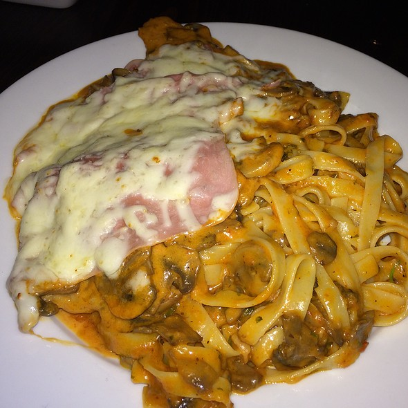 Veal Romano, mushrooms & ham with mozzarella, covered in blush sauce served with homemade fettucini - Italian Affair Restaurant, Glassboro, NJ
