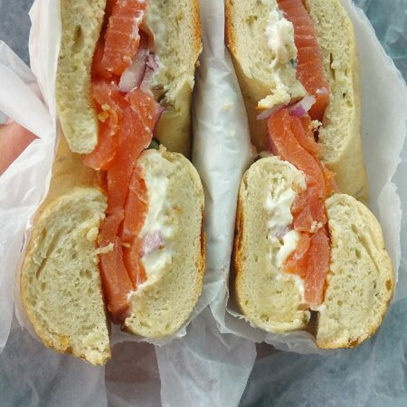Smoked Salmon Sandwich With Cream Cheese, Capers And Onion @ Bruegger's Bagels