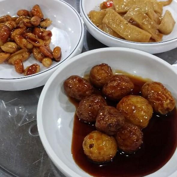Korean Appetizers - Potatoes, Peanuts and Squid