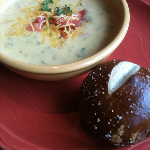 Cheeseburger Soup & Pretzel Roll @ Nadoz Euro Bakery & Cafe