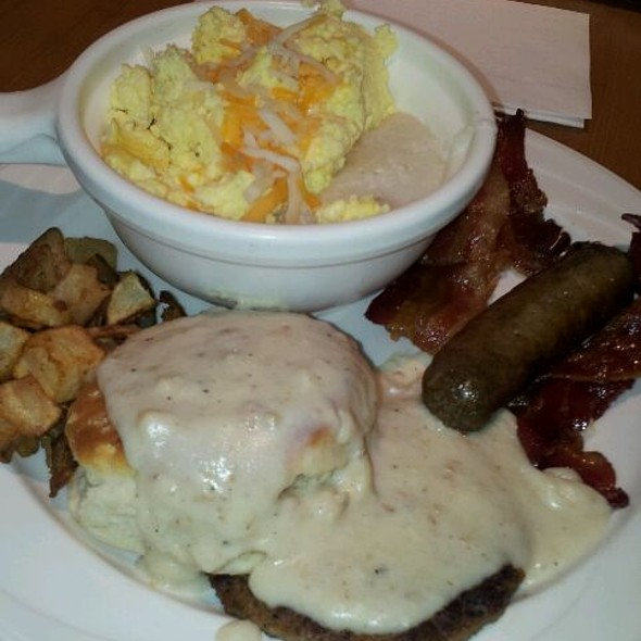 Grits with Scrambled Eggs and Cheese; Biscuits with Sausage and Country Gravy; Potatoes O'Brien and Turkey Sausage Links