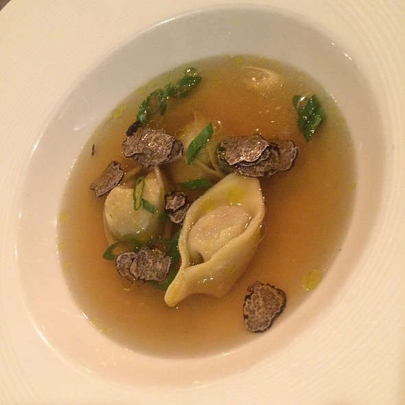 Duck tortellini in a duck consomme, shaved black truffle - Accanto, Portland, OR