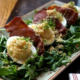 Deviled eggs, sweet potato, sage crouton, La Quercia tamworth ham, arugula