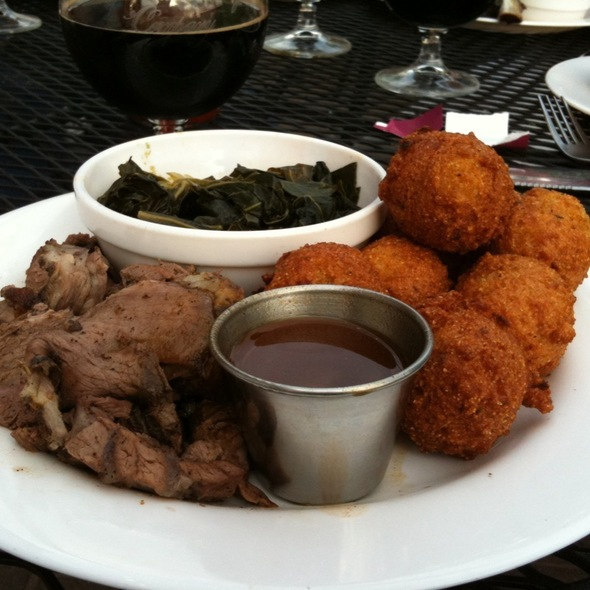Kentucky Breakfast Stout Dinner - Smoked Mutton, Hush Puppies, Collared Greens And Pecan Pie @ Brasa Rotisserie